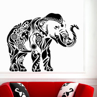 Decorated Ganesha Wall Decals Indian Elephants Vinyl Decal Sticker Animals Home Interior Design Art Mural Living Room Bedroom Decor MR389