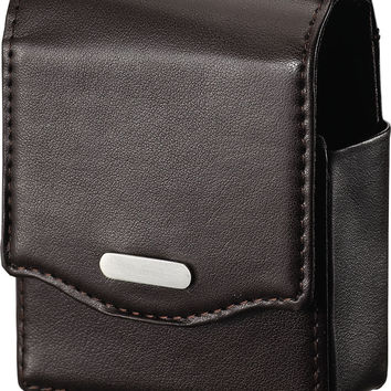 Visol Bruin Dark Brown Leather Cigarette Case Holder with Lighter Pouch