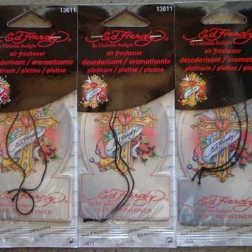 Lot (3) Car Auto Air Freshener Authentic Ed Hardy Many Scent To Choose