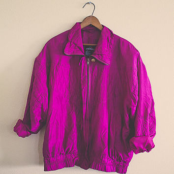 Silk  Magenta Pink Windbreaker Jacket Coat Medium Hipster Preppy 80s Club Kid  Oversized Slouchy Quilted Front