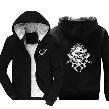 Warm Thick Hoodie Military Design Skull Jacket