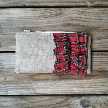 Red Tartan Plaid Linen Burlap Ruffle Zipper Clutch - Fall Wedding - Christmas Wedding