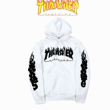THRASHER Flame Sweater Hoodie Tide men and women on the streets of the long sleeve loose loose head personality sweater White