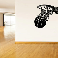 Wall Vinyl Sticker Decals Decor Basketball Ball Basket Sport (z1227)
