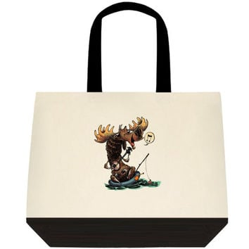 Moose tote, Comical moose bag, woodland, funny mooose, Canvas bag, Personalized Custom Tote, Personalized Gift, Reusable Bag, Canvas Totes