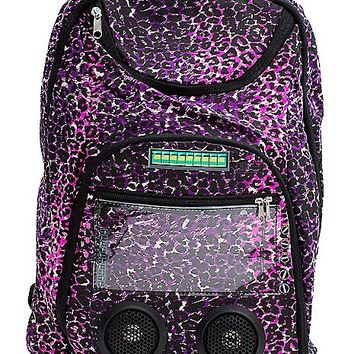 Light Pink Leopard Audio Backpack w/ Selfie Remote - Spencer's