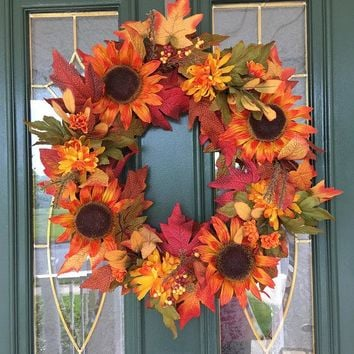 Autumn Wreath - Fall Wreath - Fall Front Door Wreaths - Sunflower Wreaths - Fall Indoor Wreath - Autumn Front Door Wreath - Wreaths for Fall