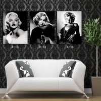 Spirit Up Art Sexy Marilyn Monroe Black & White Photos Home Decoration Canvas Print Modern Wall Painting Art set of 3 Each 40*60cm #OMRW-05 (unframed)