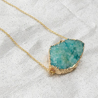 Druzy Necklaces With Gold Edge by Delilah Dust