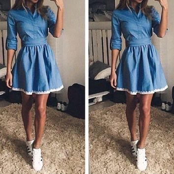 PEAPON FASHION DENIM LACE DRESS