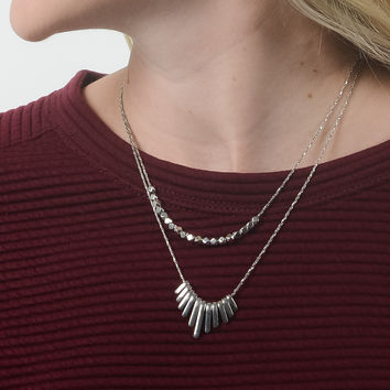 Layered Necklace - Silver