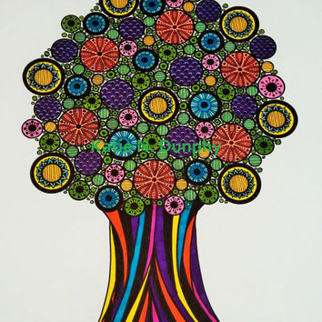 "Tree of Life Henna Mehndi Drawing Rainbow 8""x10"" Print Original Design by Katie N. Dunphy"