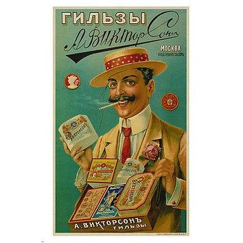 A VIKTORSON cigarette papers VINTAGE AD POSTER moscow RUSSIA 1905 24X36