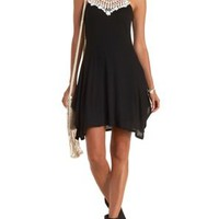 Black/White Crochet-Bib Ribbed Handkerchief Dress by Charlotte Russe