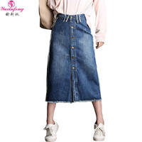 2017 New Long Denim Skirt Women Plus Size Button Pockets Maxi Size High Waist Loose A-line Jean Denim Skirts\