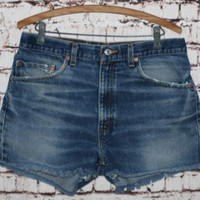 90s High Waist Denim Shorts Levis 505 cut offs Dark Wash Distressed grunge festival boho hipster gypsy Hippie 35 32 12 14 Jean 501 Plus Size