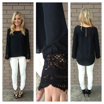 Black Crochet Long Sleeve Denny Blouse