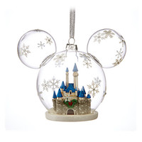Disney Parks Mickey Icon Fantasyland Castle Glass Holiday Ornament New with Tags