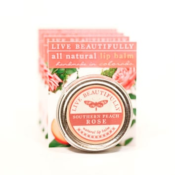 Southern Peach Rose - All Natural Lip Balm Tin