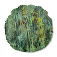Round Pillow in abstract greens and yellows, 16 inch pillow with insert, green throw pillow