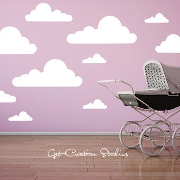 Cloud Decal Wall Stickers - Princess, Fairy Tale, Cloud, Light, White, White, Fluffy, Baby, Shape, Nursery, Daytime, Sky