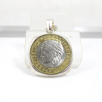Milor Coin Pendant Necklace. Sterling ItalianTwo Tone Republica Italiana 1000 Lire Coin. Italian Coin Jewelry. Milor Sterling Jewelry