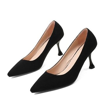 Pointed Toe Suede Mid Heel Pumps Shoes 8465