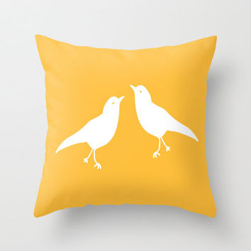 Yellow Bird Pillow Cover, rustic decor, animal pillow, love birds pillow, spring pillow, easter pillow, easter decor, choose color
