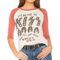 Junk Food Kiss World Wide Tee in Ivory & Marsala