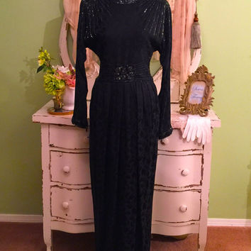 30s 40s Style Evening Gown, Long Beaded, Glam Formal Dress, SM/M, Elegant Dress, Hollywood Art Deco, Formal Vintage Dress, Black Opera Dress