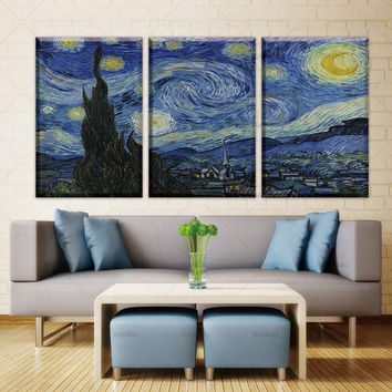 Canvas Painting Home Decor wall art Living room No Frame Starry night Wall Painting Vincent Willem Van Gogh Printed wall