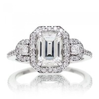 Moissanite ring emerald cut forever brilliant diamond halo engagement ring three stone halo band