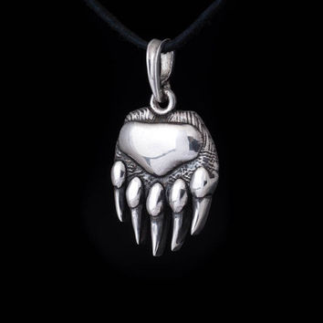 Bear Paw Pendant, sterling silver, handmade ... bear claw pendant