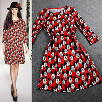 Red Mickey Mouse Head Print Shift Dress
