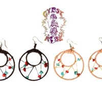 WOVEN HOOP AND STONE EARRINGS: Gypsy Rose