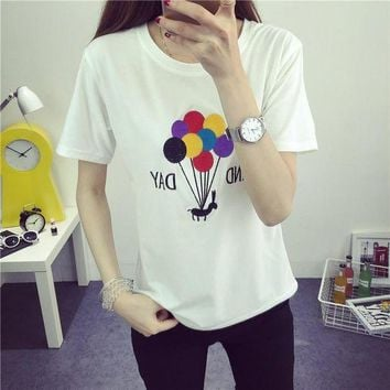 PEAPON Day First Balloon Tops Short Sleeve T-shirt