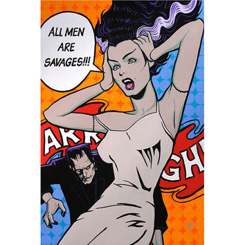 Lowbrow Art Company All Men Are Savages Art Print by Artist Mike Bell