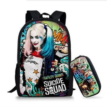 Coloranimal Suicide Squad Backpack Harley Quinn Children Schoolbags Joker Kids School Backpack Anime Pattern Student School Bag