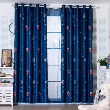 Star Wars Force Episode 1 2 3 4 5 Latest 2 Colors Blue Planet  Cartoon Curtains for Boys Bedroom Kids Living Room Shade Window Curtain Home Decor Cortina AT_72_6