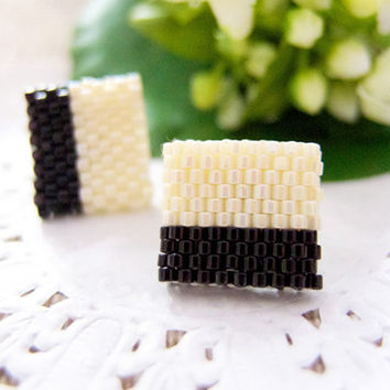 Nougat Black Beaded Color Block Cream Square by JeannieRichard