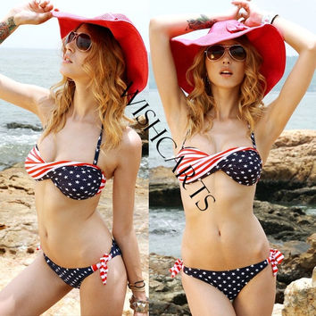 Stars Stripes Padded Twisted Bandeau American Flag Swimwear Bikini SV000467 = 1945971716