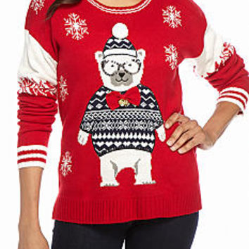 New Directions® Polar Bear Snowflake Bell Sweater