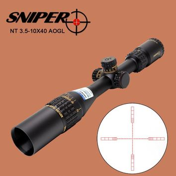 SNIPER NT 3.5-10X40 AOGL Hunting Tactical Optical Sight Glass Etched Reticle llluminate Rifle Scope with Windage Elevation Lock
