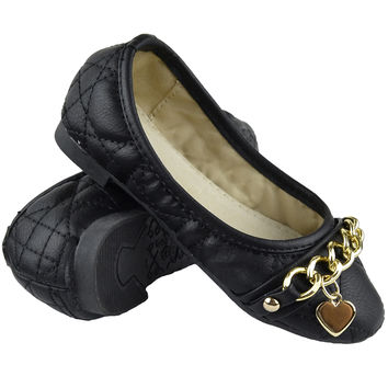 Kids Ballet Flats Quilted Gold Heart Accent Casual Slip On Shoes Black SZ