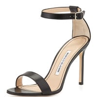 Chaos Leather Ankle-Strap Sandal, Black - Manolo Blahnik