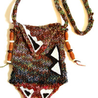 Medicine bag necklace, knit bag, fiber jewelry, knit pouch, knitted necklace, wool necklace, medicine bag, yarn necklace