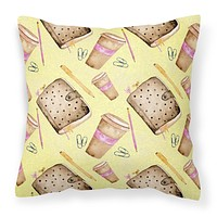 Watercolor Coffee and Journal Fabric Decorative Pillow BB7537PW1818
