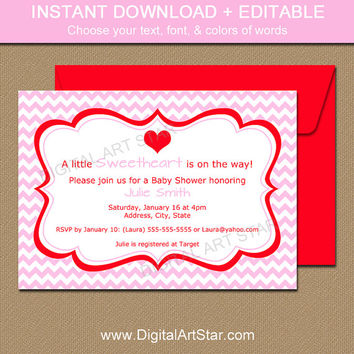 Downloadable Valentines Day Invitation - EDITABLE Valentine Party Invitation - Printable Valentines Day Baby Shower Invitation Template PR