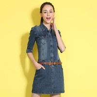2017 vestido autumn denim dress clothing plus size 2XL women Jeans dress elegant spring Mini slim cowboy casual Dresses vestidos