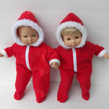 """Bitty Baby Doll Clothes Twin Girl , Boy, or Baby Doll 15"""" American Girl  Choice of REDS Hooded Faux Fur Winter Polar Fleece Snowsuit"""